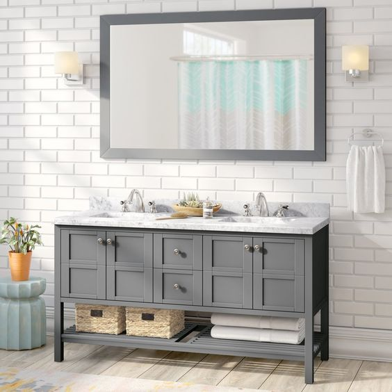 grey vanity with mirror set from Wayfair
