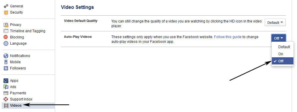 Facebook Video Settings in Website