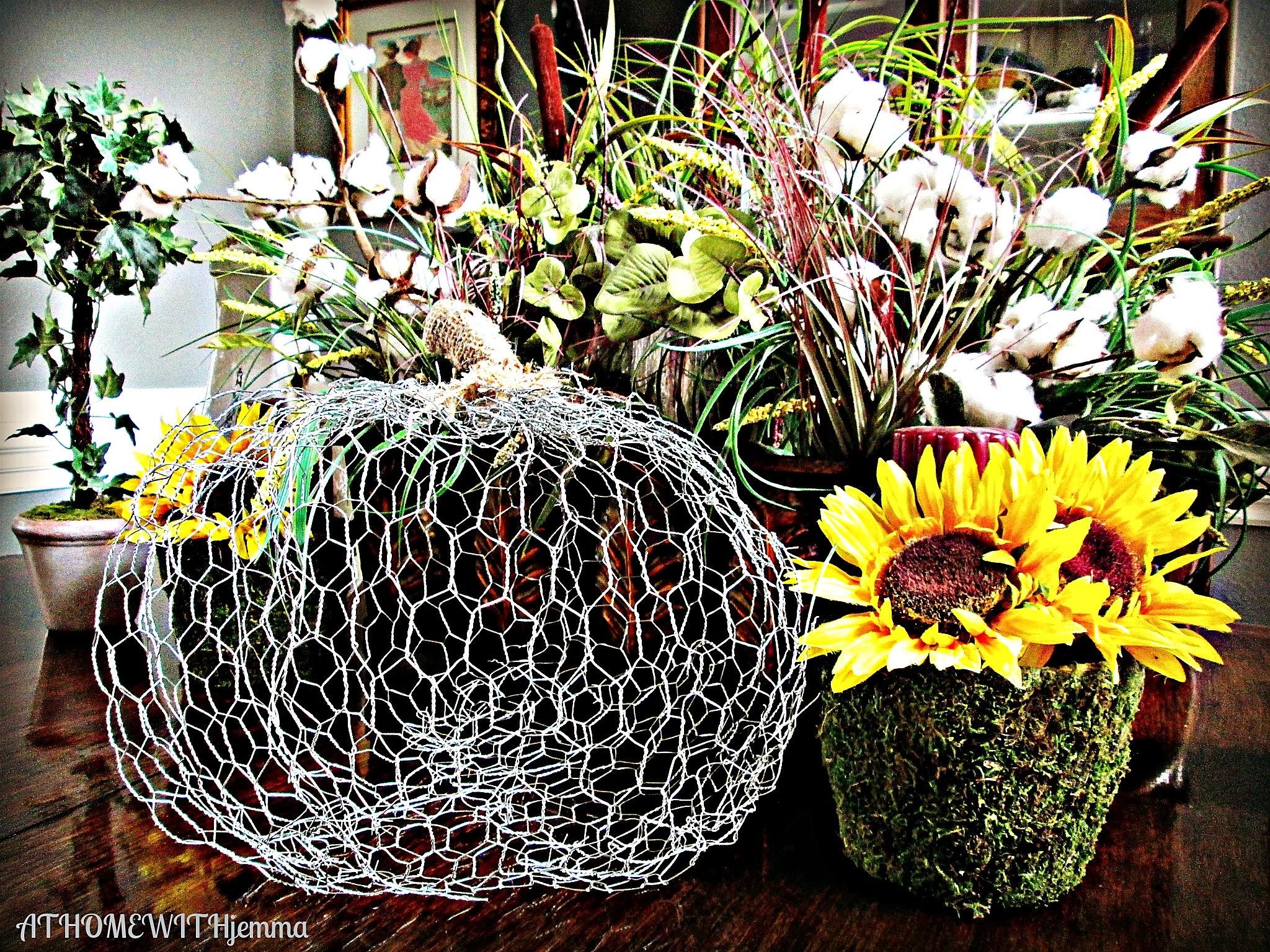 Jemma's- dining room table- chicken wire pumpkin, sunflower-cotton
