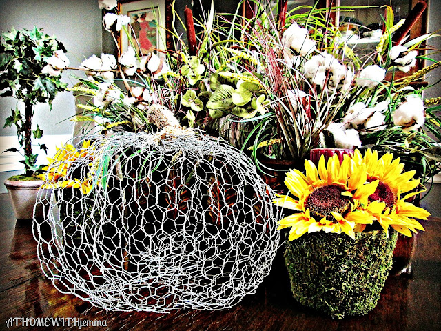 Jemma's- dining room table- chicken wire pumpkin, sunflower-cotton