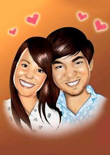 caricatura de casal apaixonado