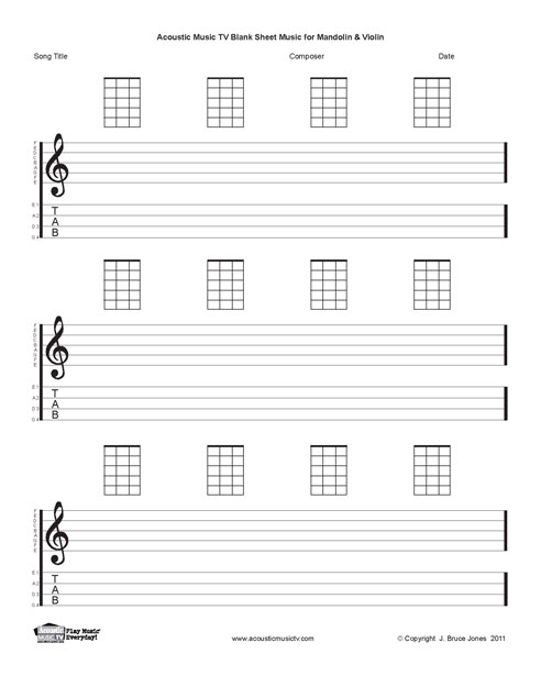 Mandolin mandolin tabs and chords : Acoustic Music TV: Blank Sheet Music-Mandolin