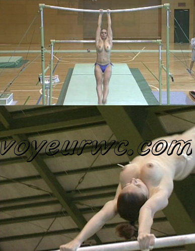 Naked gymnasts do nude gymnastics