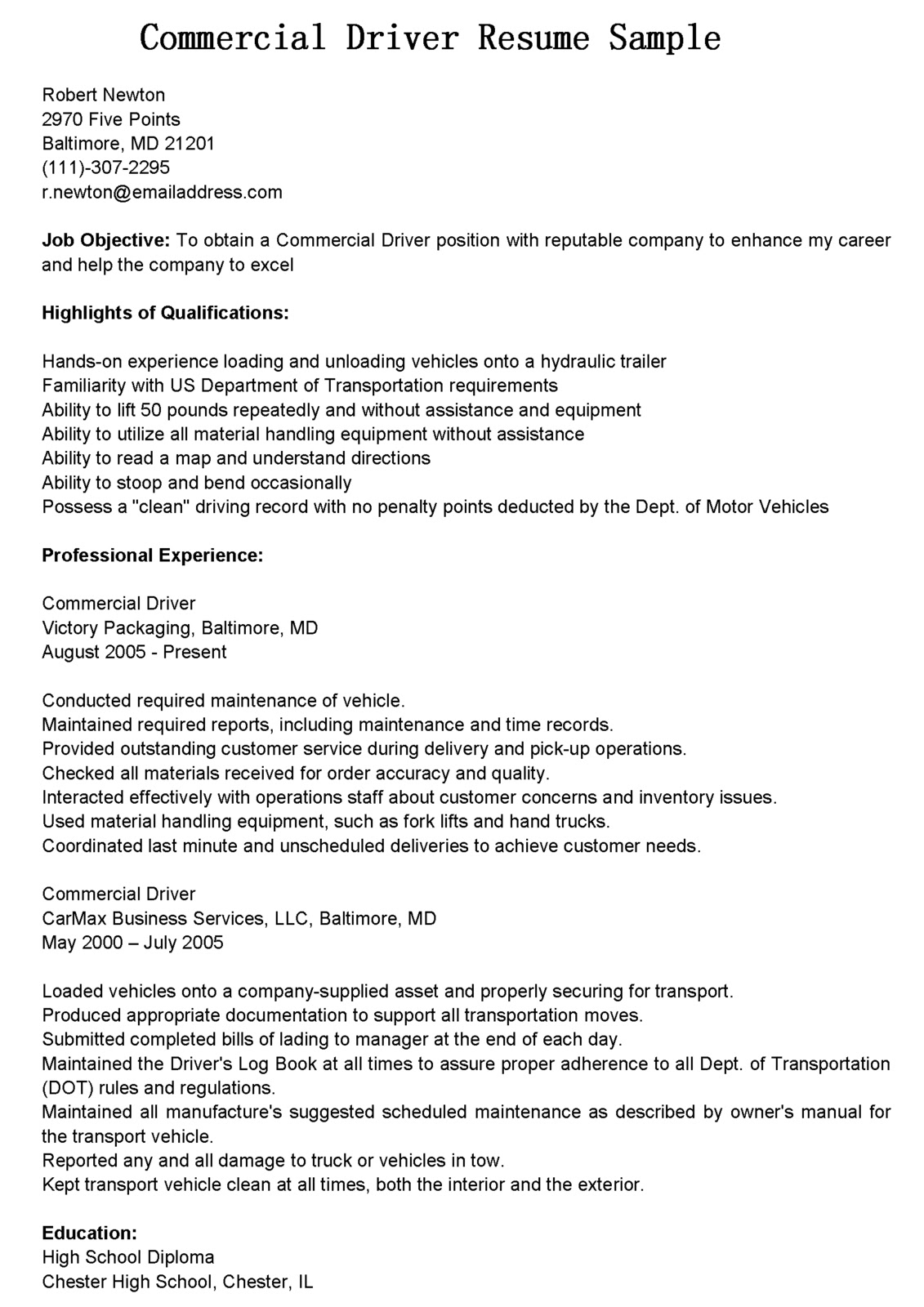Cdl Driver Resume Sample Driver Resumes Commercial Driver Resume Sample