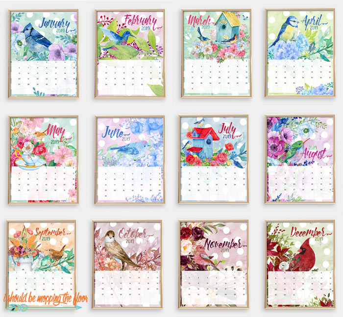 Watercolor Printable Calendar