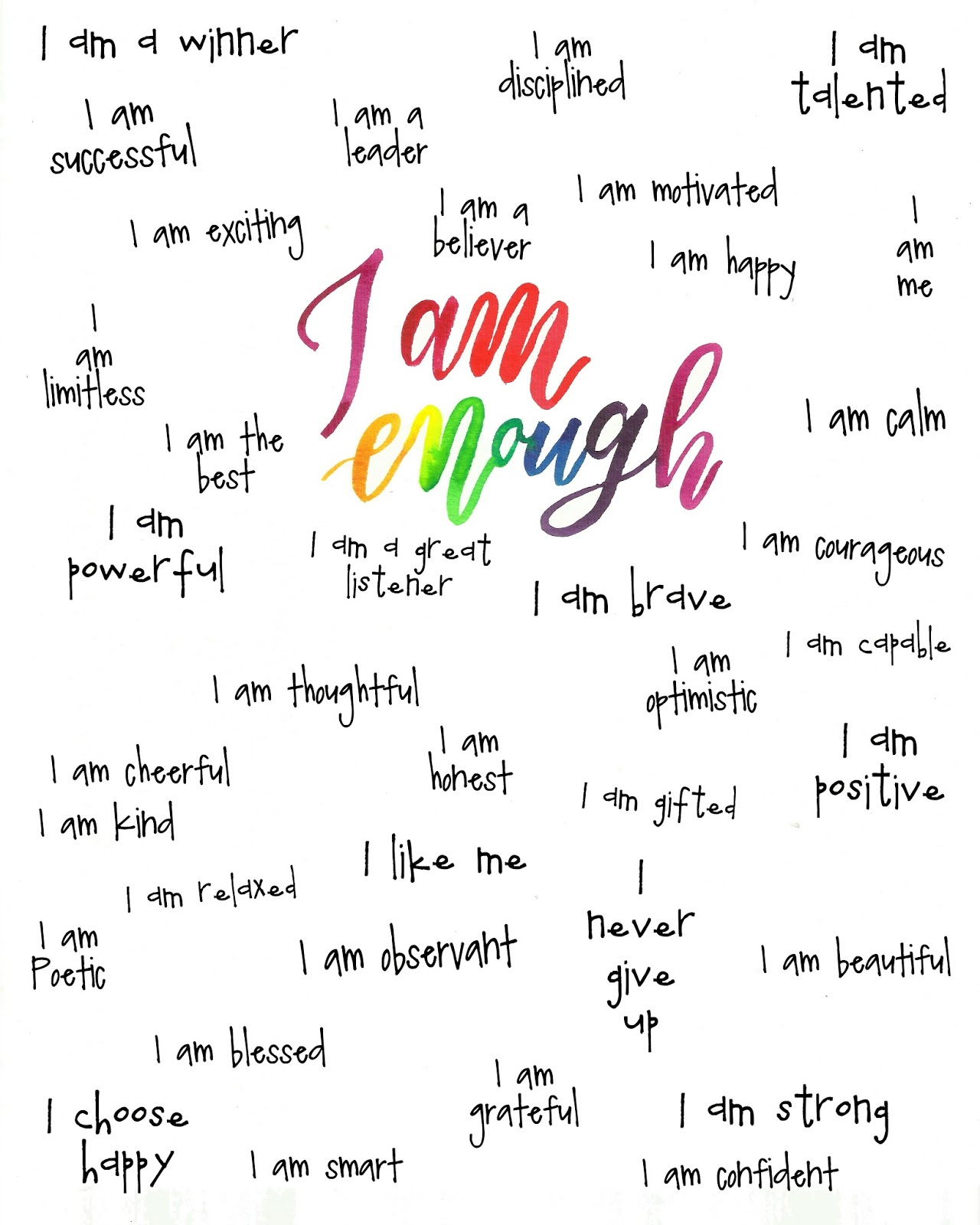 Doodlecraft I Am Enough Free Printable