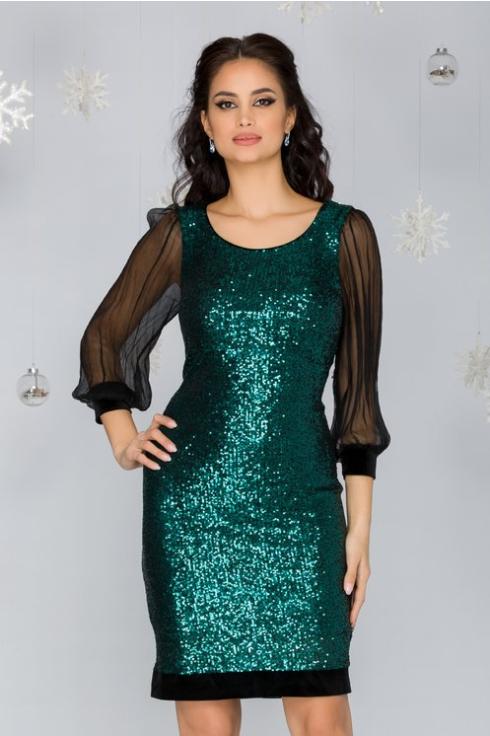 Rochie de lux eleganta din paiete verde si maneci din voal de evenimente la Reducere