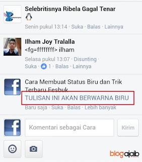 Cara membuat komentar dan status facebook berwarna biru
