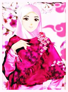 gambar kartun muslimah cantik berhijab