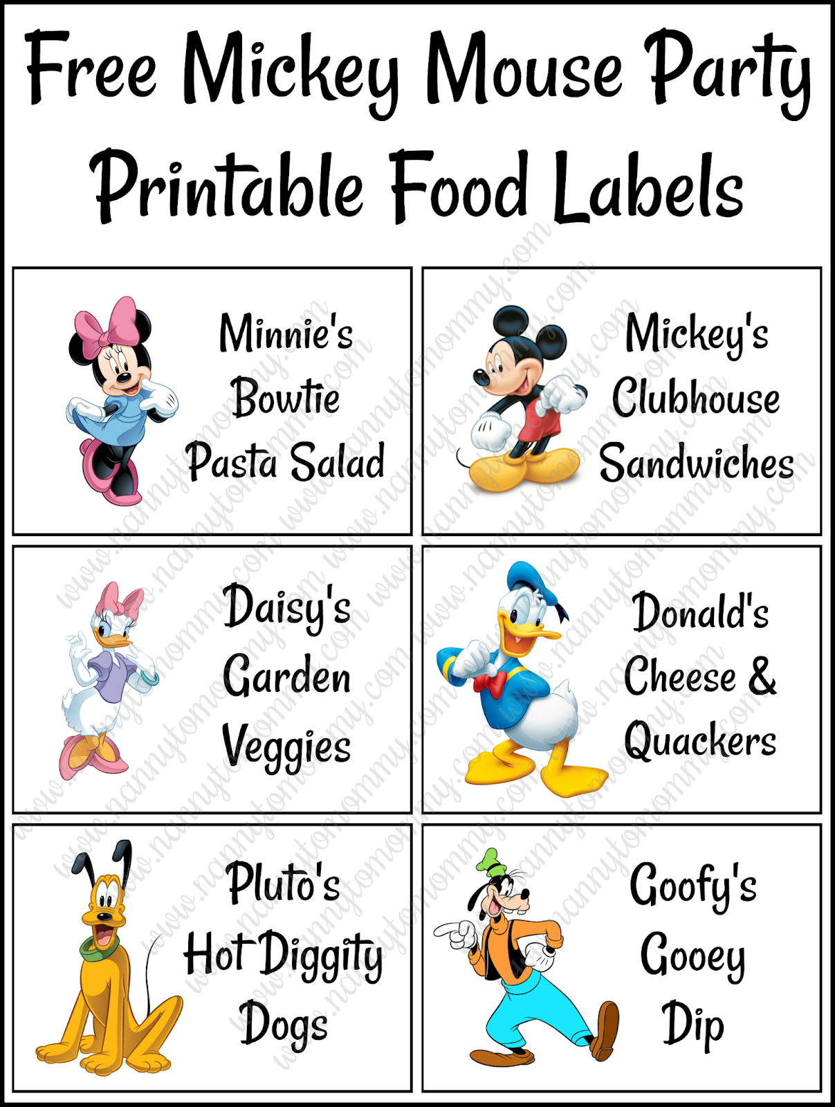 Mickey Mouse Food Labels Free Printable