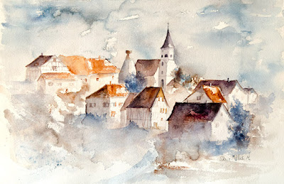 aquarelle village d'Alsace