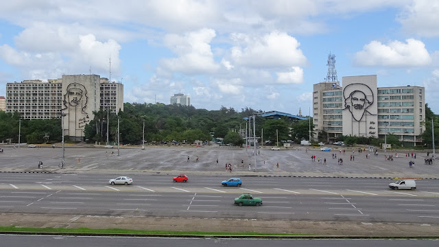 Revolution Plaza. There we go - Che on the left, Fidel on the right.