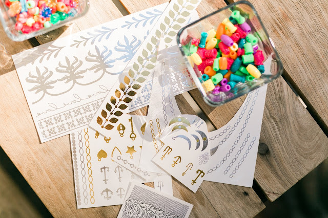 beads and flash tattoos, party planning essentials, DIY bracelets