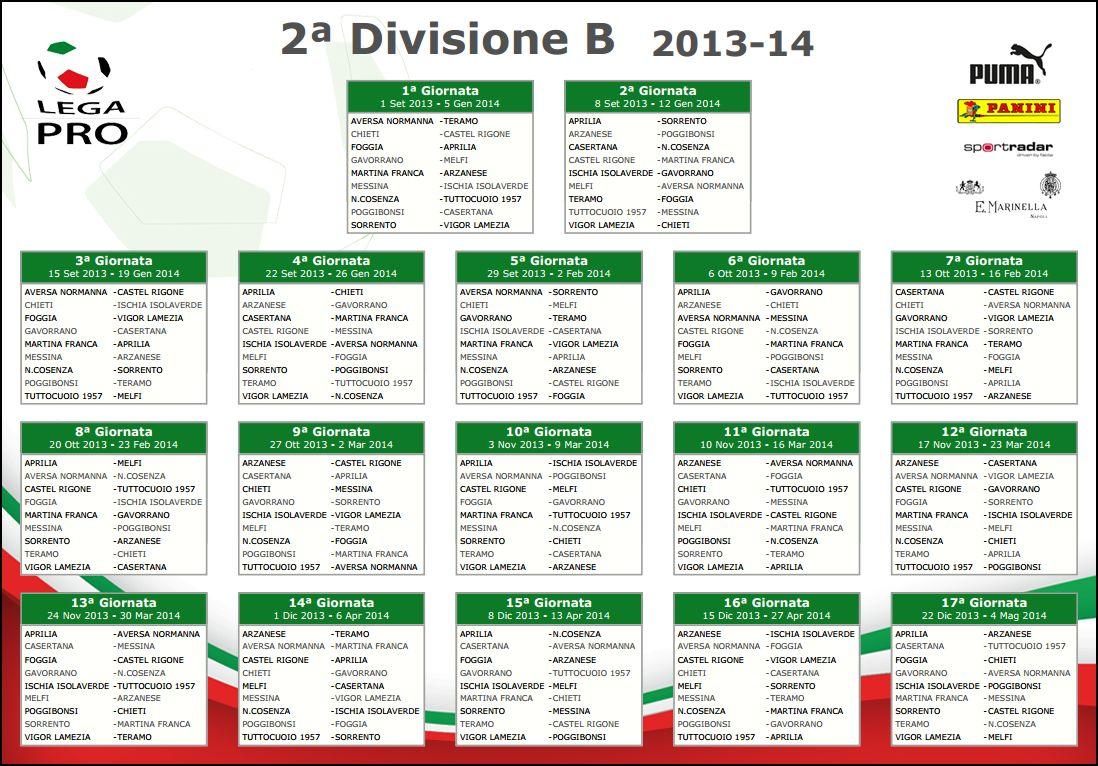 Lega Pro Calendario Girone B.Calendario Seconda Divisione Girone B 2013 2014 Scombettiamo