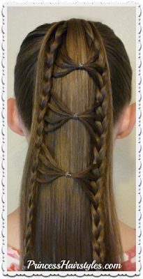 Bow tie braid ponytail hairstyle by Princess Hairstyles. Video instructions.