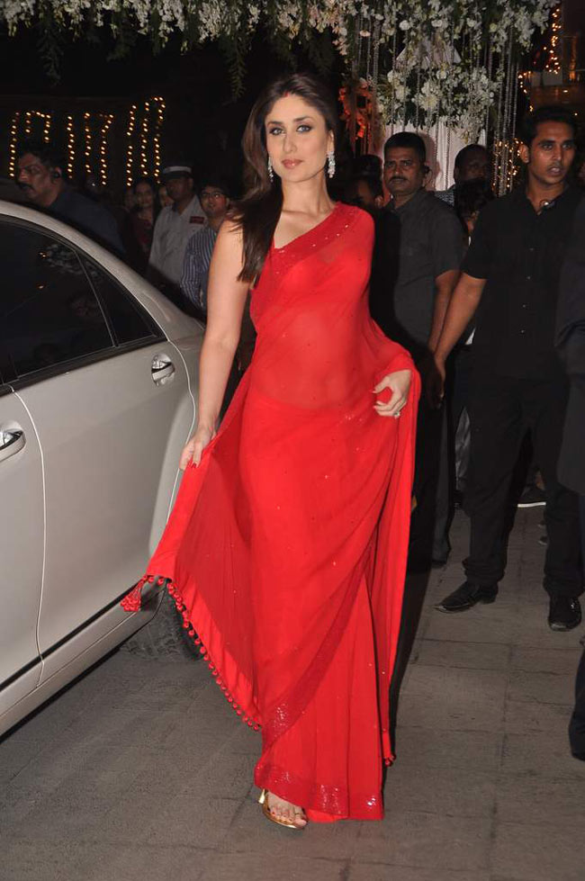 Kareena Kapoor Spicy Stills In Red Saree
