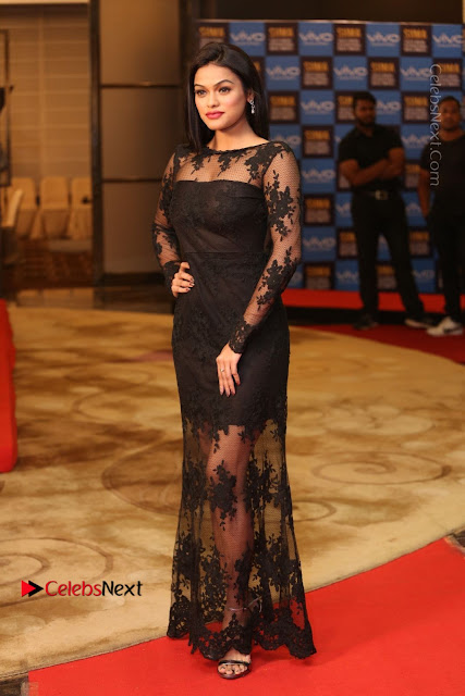 Actress Soniya Stills in Beautiful Black Long Dress at SIIMA Short Film Awards 2017  0003