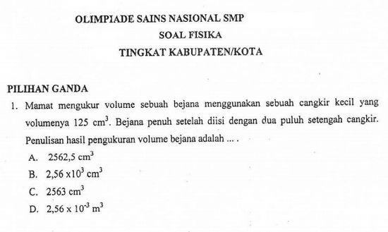 Soal OSN Fisika SMP 2019 Tingkat Kabupaten/ Kota Lengkap dengan Pembahasannya