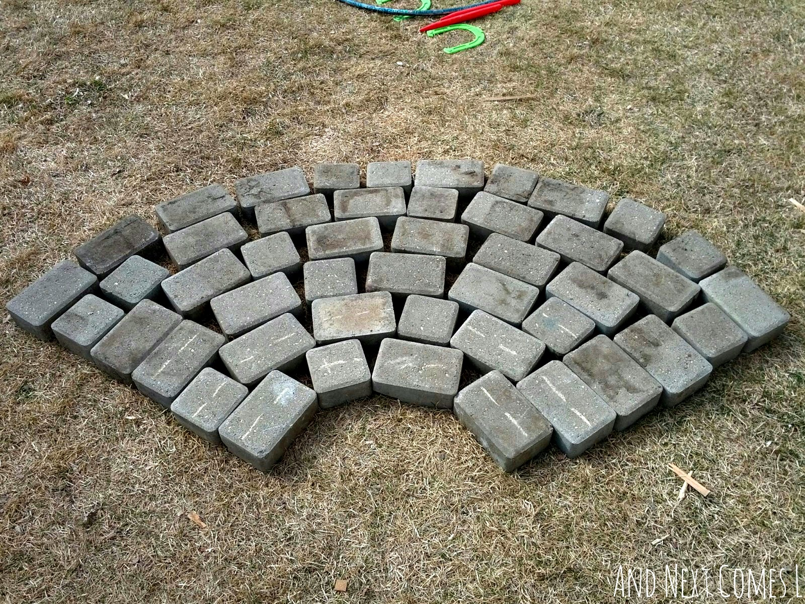 Blank paving stones for coloring a chalk rainbow from And Next Comes L