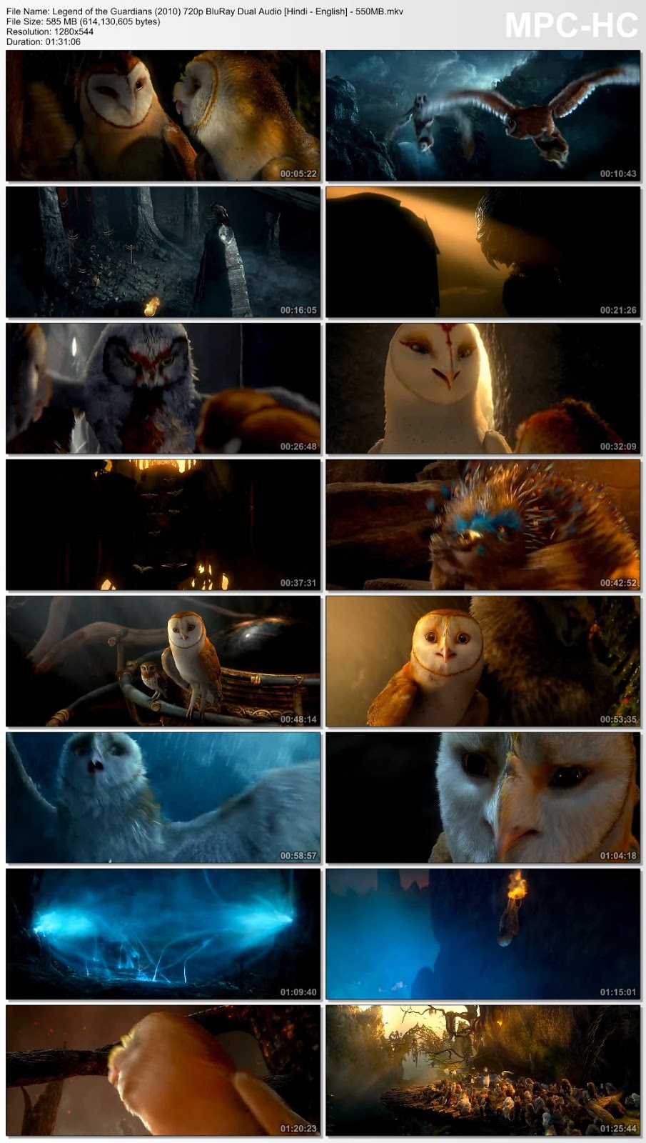 Legend of the Guardians (2010) 720p BluRay Dual Audio [Hindi – English] – 550MB Desirehub