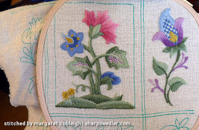 Crewel Sampler (by Elsa Williams): Issues with hoop and not enough fabric