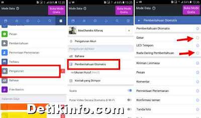 Cara mematikan getar dan nada Notifikasi FB Lite