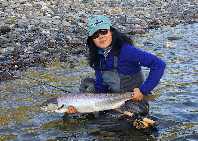 Hyun with a beautiful salmon (hen) from the Bonaventure. She was a jumper!