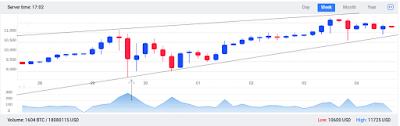 Цена биткоина постоянно колеблется, поэтому на графике видны и максимумы, и минимумы цены.