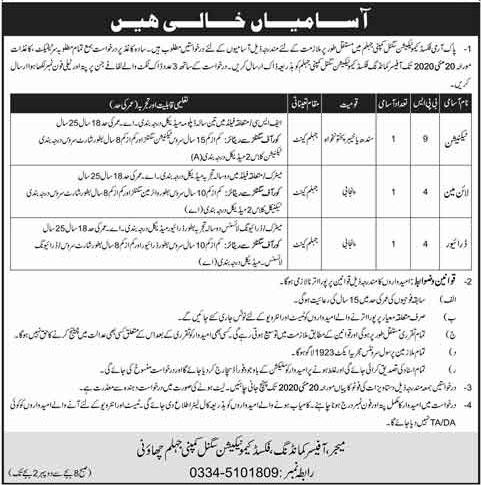 Pak Army Fixed Communication Signal Company Jobs May 2020