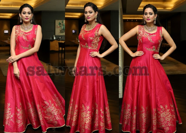 Swetha Jadhav Red Floor Length Salwar