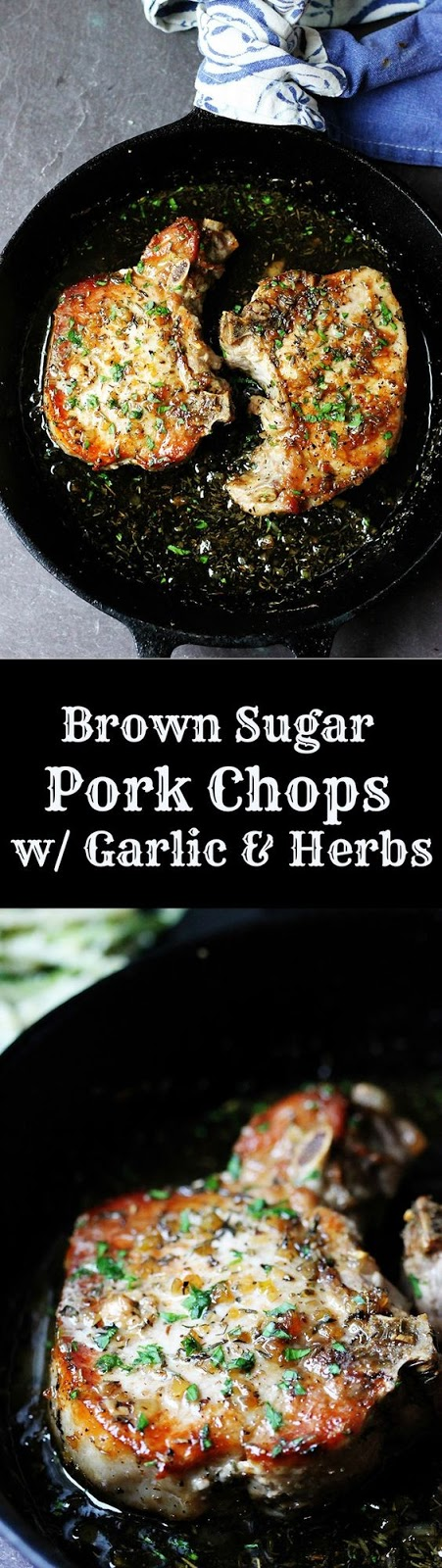 Brown Sugar Pork Chops With Garlic & Herbs
