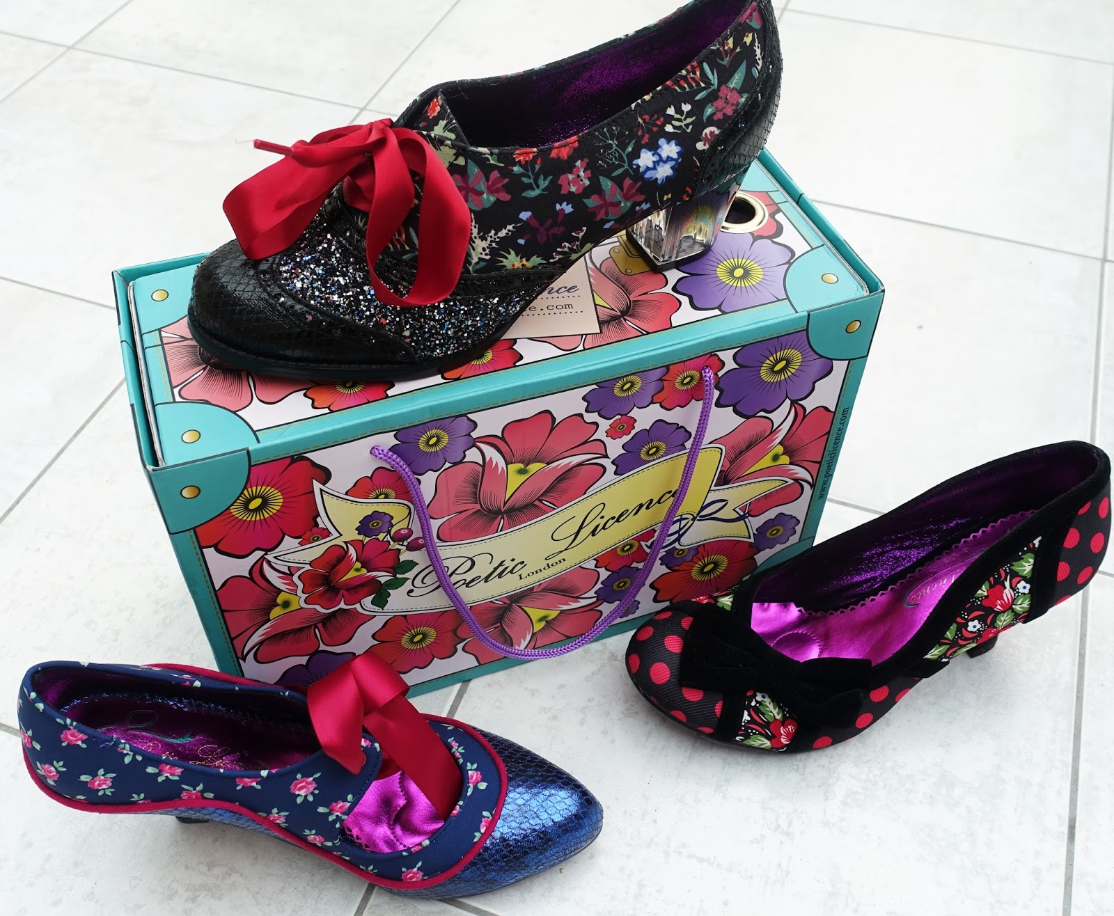 Image showing three different Poetic Licence shoes and the box they come in