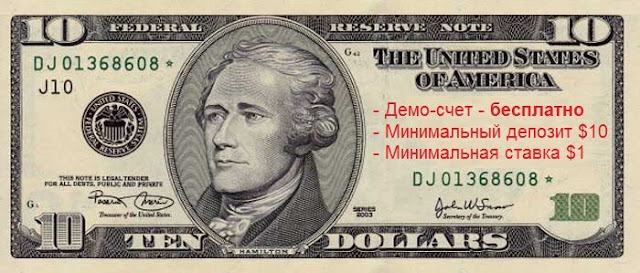 Опционы: минимальный депозит 10 USD