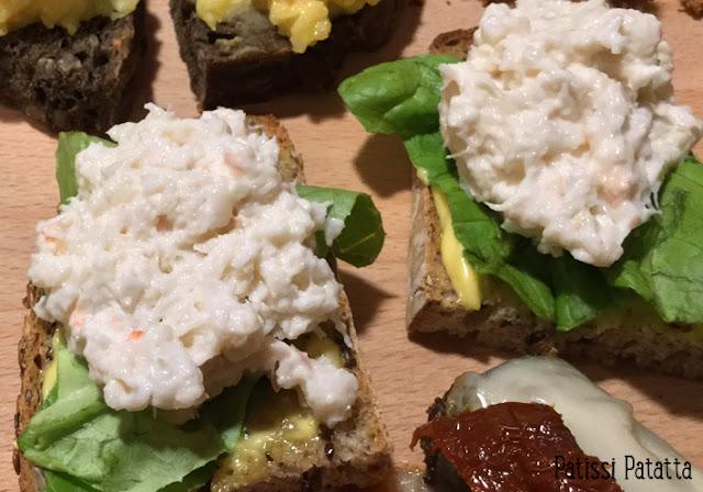recette de pintxos, pintxos basques, tapas basques, apéritif espagnol, pintxos crabe, pintxos langoustines, crabe et langoustine, pintxos marin