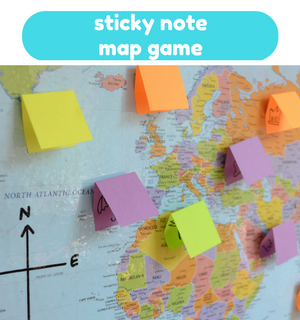 Printable Games by Practical Mom: Sticky Note Map Game