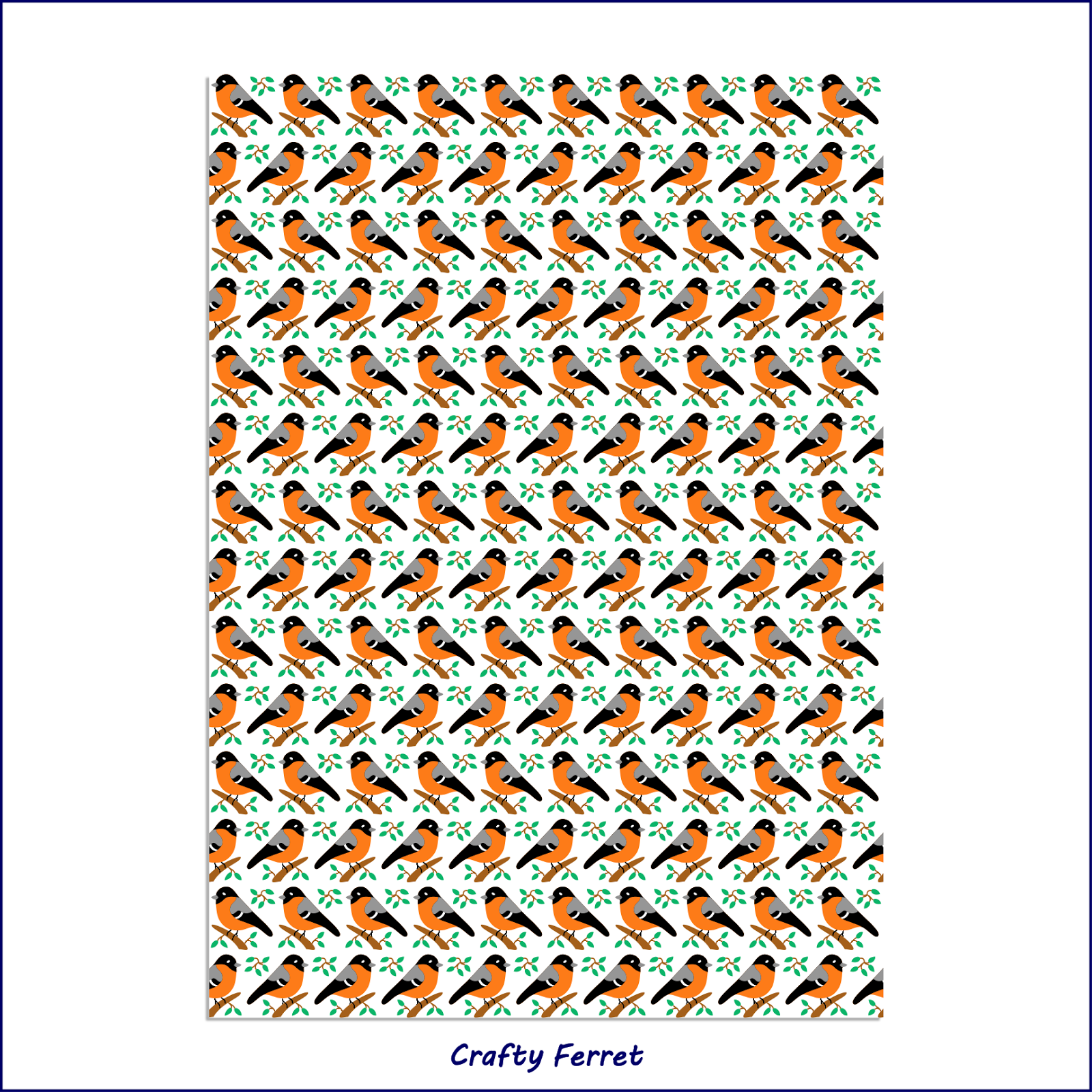 A4 printable bullfinch craft backing paper.