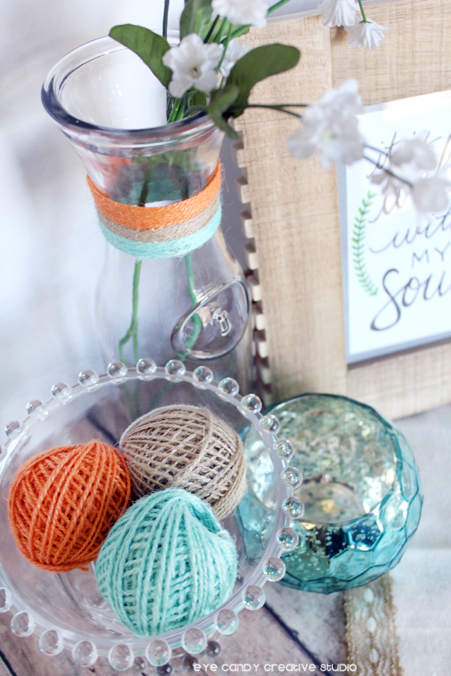carafe, colored twine, framed art, craft DIY ideas, personalized crafts
