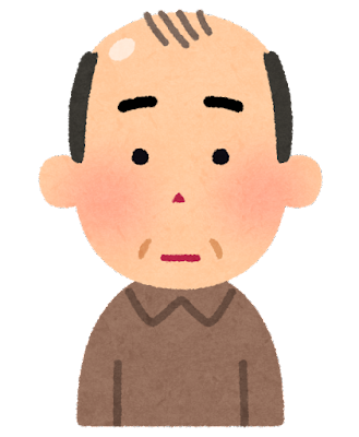 薄毛の男性のイラスト(中年)