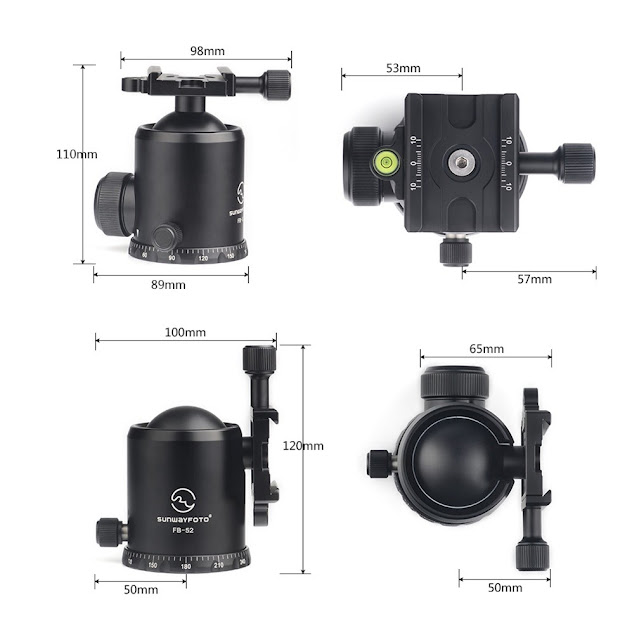 Sunwayfoto FB-52 Ball Head Dimensions