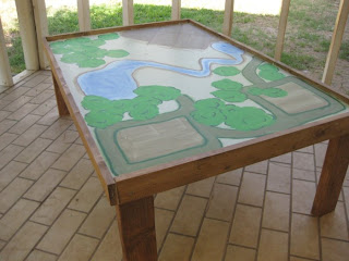 Train table built by Melly Sews - no tutorial, but looks fairly easy to DIY