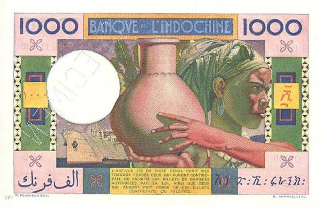 Djibouti French Somaliland money collecting 1000 Francs banknote