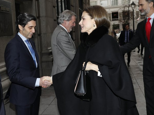 Queen Letizia wore Carolina Herrera Cape and Black patent and suede pumps, Boss Medium Bespoke Bag