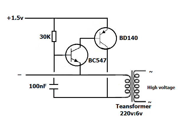تشغيل مصباح 220 فولت ببطارية قلم1.5 فولت