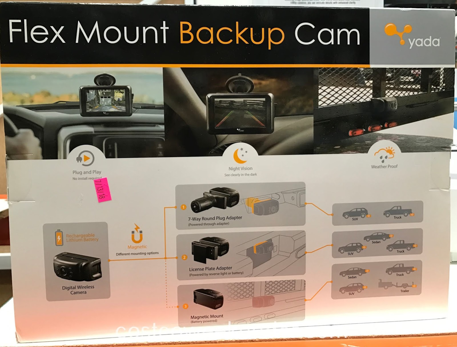 Costco 1084071 - Yada Flex Mount Backup Camera helps you when you have difficulty parallel parking