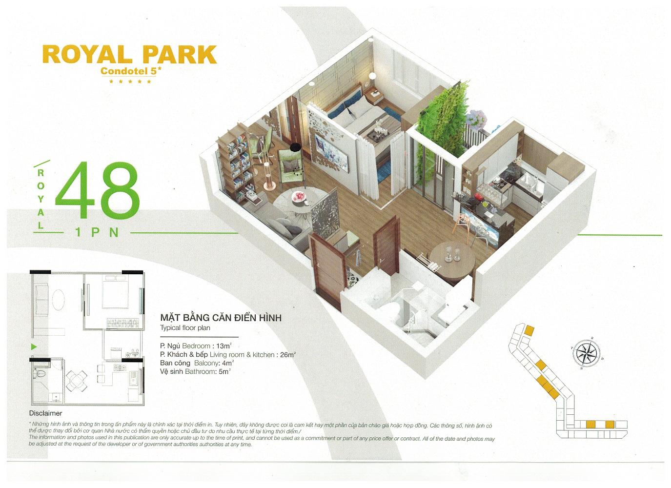 Thiết kế mặt bằng căn hộ khách sạn nghỉ dưỡng Royal Park Bắc Ninh 48m2
