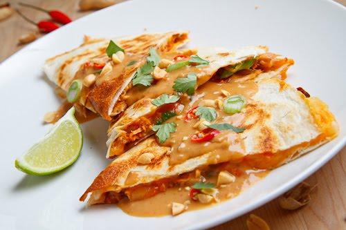 Spicy Peanut Chicken Quesadillas
