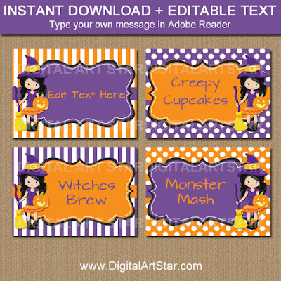 editable halloween candy buffet labels