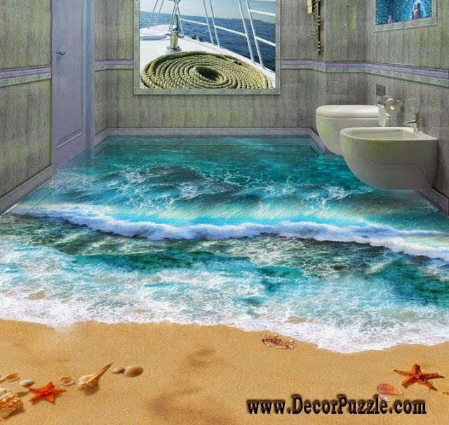 3D bathroom floor designs, self-leveling flooring ideas