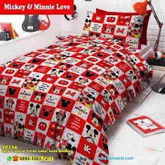 Sprei Custom Katun Lokal Anak Mickey & Minnie Love Kartun Karakter Kotak Merah Putih