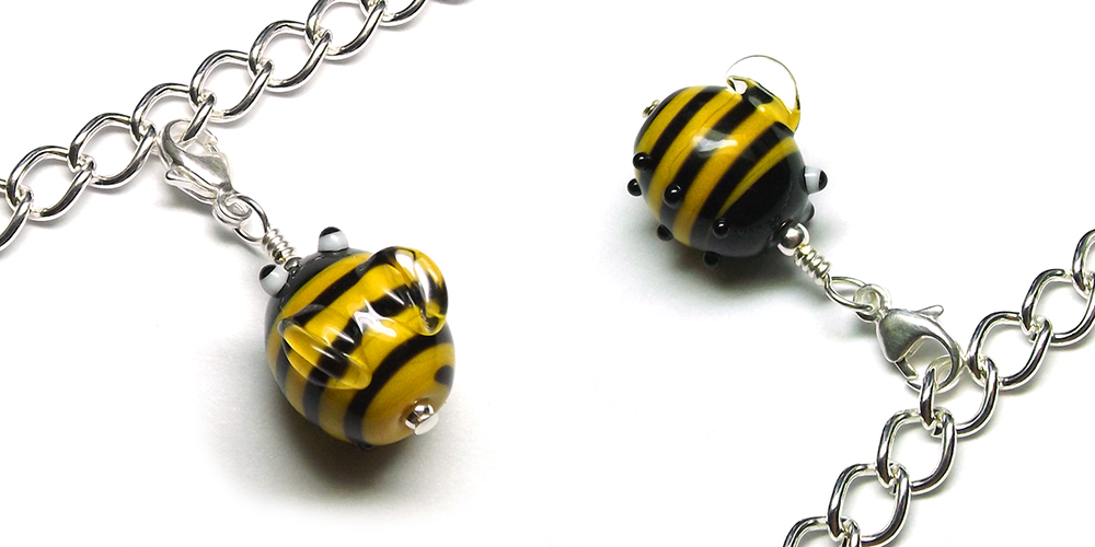 Lampwork glass Bumblebead charm by Laura Sparling